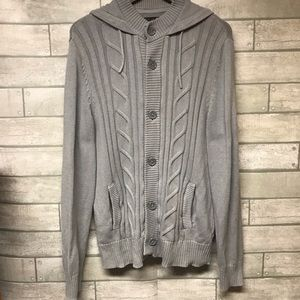 G by Guess gray cable knit cardigan sweater Large